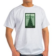 1957 Iceland Spruce with Volcanoes Stamp T-Shirt