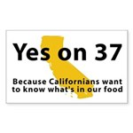Yes on 37 - Sticker (Rectangle 50 pk)