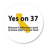Yes on 37 - Round Car Magnet