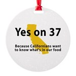 Yes on 37 - Round Ornament