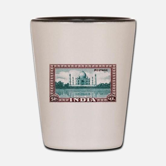 1940 India Taj Mahal Postage Stamp Shot Glass