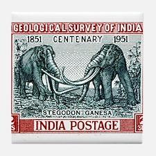 1951 India Stegodon Elehpant Stamp Tile Coaster