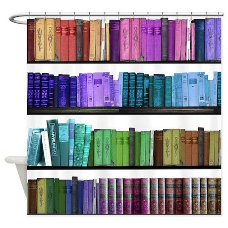 Colorful bookshelves Shower Curtain