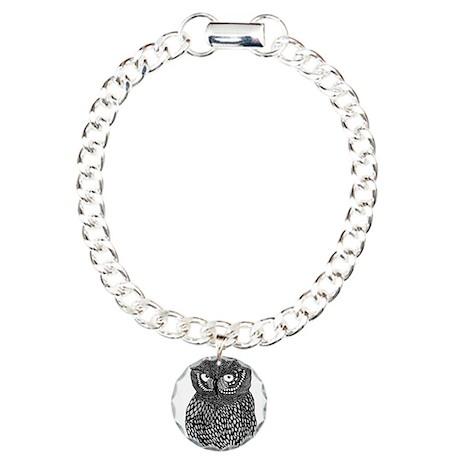Zentangle Owl Charm Bracelet, One Charm