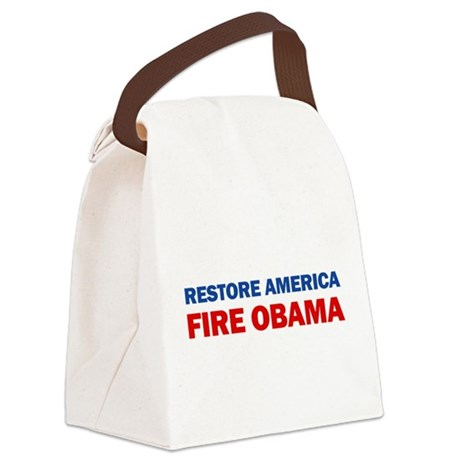 Restore America Fire Obama Canvas Lunch Bag