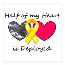 "Half of my Heart Blue Camo Square Car Magnet 3"" x"