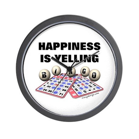 Happiness is Yelling Bingo! Wall Clock