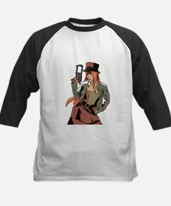 Steampunk Anime Girl Kids Baseball Jersey