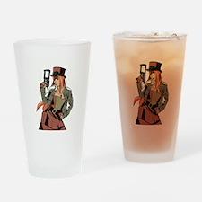 Steampunk Anime Girl Drinking Glass