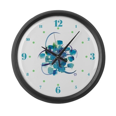 Atom Sea #9 Large Wall Clock with hours II