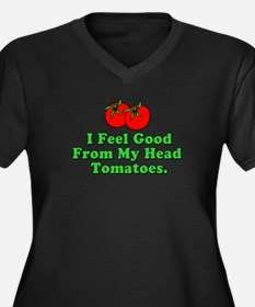 Feel Good Tomatoes Women's Plus Size V-Neck Dark T