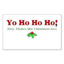Yo Ho Ho Ho Pirate Christmas Rectangle Decal