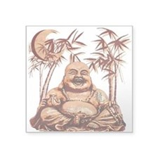 """Riyah-Li Designs Happy Buddha Square Sticker 3"""" x"""