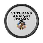 Veterans against Obama - Large Wall Clock