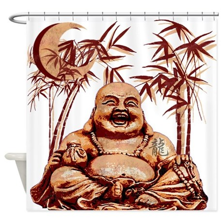 Happy buddha asian shower curtain