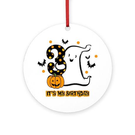 Little Ghost 3rd Birthday Ornament (Round)