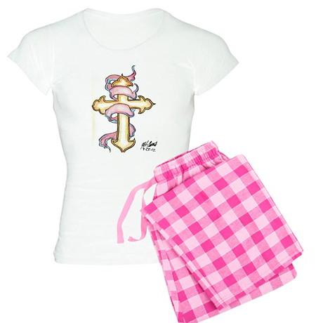 cross and ribbion Women's Light Pajamas