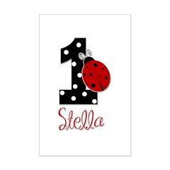 1st Birthday Ladybug - STELLA - Custom Posters