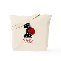 1st Birthday Ladybug - STELLA - Custom Tote Bag