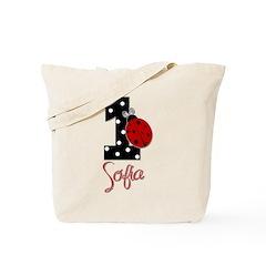 1st Birthday Ladybug - SOFIA - Custom Tote Bag