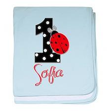 1st Birthday Ladybug - SOFIA - Custom baby blanket
