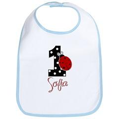 1st Birthday Ladybug - SOFIA - Custom Bib
