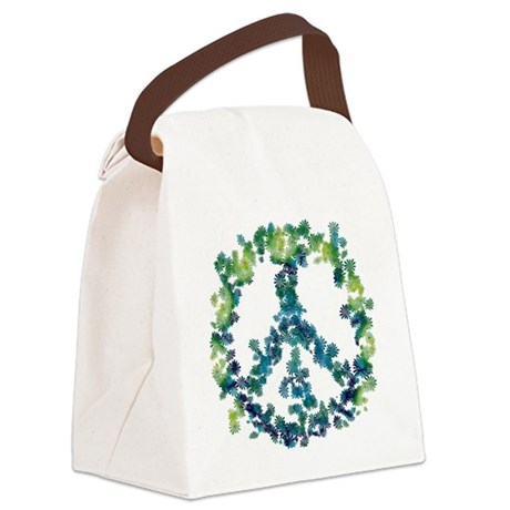 Meditation Flower Peace Canvas Lunch Bag