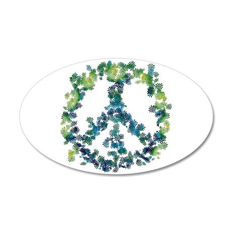 Meditation Flower Peace 20x12 Oval Wall Decal