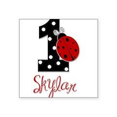 1st Birthday Ladybug - SKYLAR - Custom Square Stic