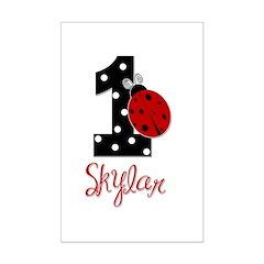 1st Birthday Ladybug - SKYLAR - Custom Posters