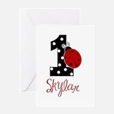 1st Birthday Ladybug - SKYLAR - Custom Greeting Ca