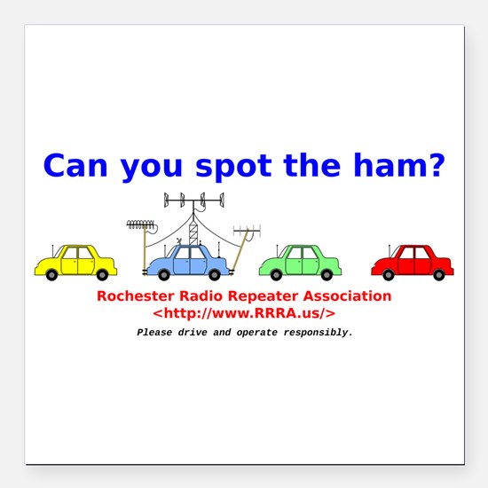 """Can you spot the ham? Square Car Magnet 3"""" x 3"""""""