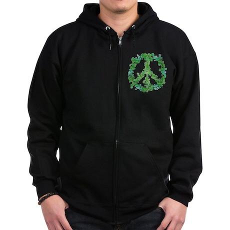 Snowflake Flower Peace Zip Hoodie (dark)
