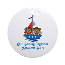 22nd Anniversary Sailing Ornament (Round)