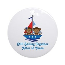 18th Anniversary Sailing Ornament (Round)