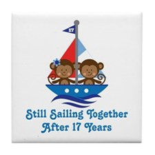 17th Anniversary Sailing Tile Coaster