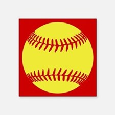 "Softball Red Square Sticker 3"" x 3"""
