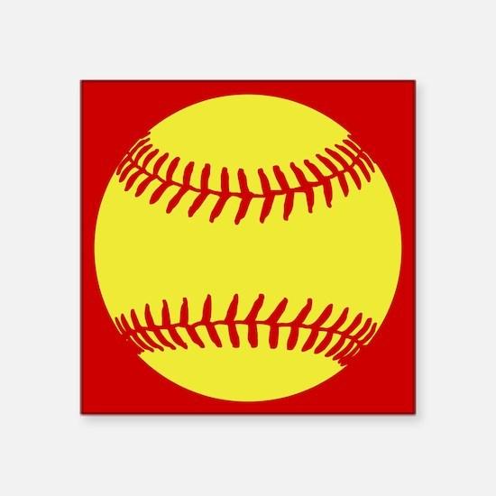 "Softball Red Square Sticker 3"" x 3"""