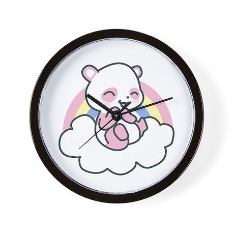 Pink Happy Panda Wall Clock