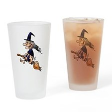 Witch on a broom Drinking Glass