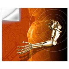 Prosthetic robotic arm, computer artwork Wall Decal