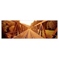 Railroad Tracks and Bridge Germany Poster