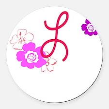 L Flowers Round Car Magnet