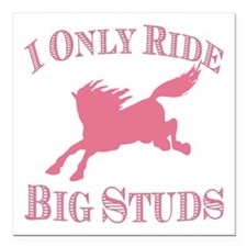 "Big Studs - Bucking - Pink Square Car Magnet 3"" x"