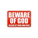 Beware Of God 35x21 Wall Decal