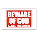 Beware Of God Sticker (Rectangle 50 pk)