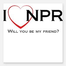 "I Love NPR Square Car Magnet 3"" x 3"""
