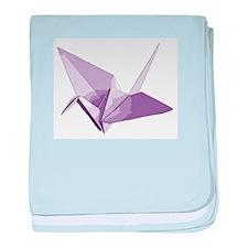 Lucky origami crane purple baby blanket