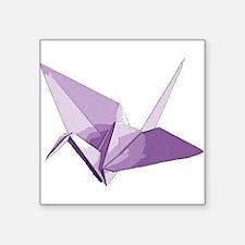 """Lucky origami crane purple Square Sticker 3"""" x 3"""""""