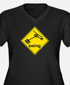Helicopter Swing Caution Sign. W + Dark T-Shirt